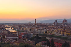 Beautiful sunset over the river Arno in Florence Stock Images