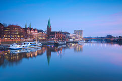 Beautiful sunset over river in Bremen Stock Photography