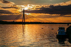 Beautiful sunset over the river Daugava Royalty Free Stock Images