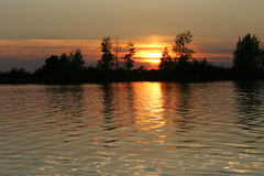 Beautiful sunset over river Royalty Free Stock Photos