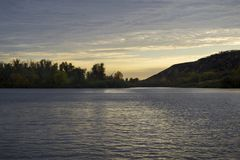 Beautiful sunset over the river.Travels. Fishing. Beautiful sunset over the river. Recreation. Travels Fishing Royalty Free Stock Photography