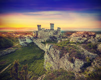 Beautiful sunset over ruins, Poland, vintage retro effect. Royalty Free Stock Photography
