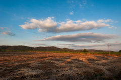 Beautiful Sunset over a rural meadow hill. Of Thailand Royalty Free Stock Photos