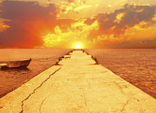 Beautiful sunset over the sea Stock Photos