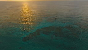 Beautiful sunset over sea, aerial view. Boracay island Philippines. stock video