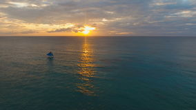 Beautiful sunset over sea, aerial view. Boracay island Philippines. stock video footage