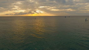 Beautiful sunset over sea, aerial view. Boracay island Philippines. stock footage