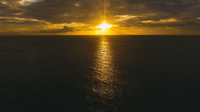 Beautiful sunset over sea, aerial view. Boracay island Philippines. Marine tropical sunset over the sea. Aerial view: Sunset over the sea in the background stock video