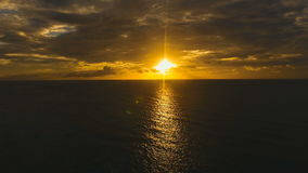 Beautiful sunset over sea, aerial view. Boracay island Philippines. Marine tropical sunset over the sea. Aerial view: Sunset over the sea in the background stock footage