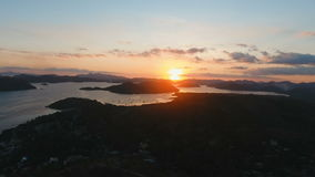 Beautiful sunset over sea, aerial view. Busuanga island Philippines. stock footage