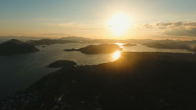 Beautiful sunset over sea, aerial view. Busuanga island Philippines. stock video