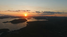 Beautiful sunset over sea, aerial view. Busuanga island Philippines. stock video footage
