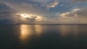 Beautiful sunset over sea, aerial view.Catanduanes. Sunset over the sea. Aerial view: Sunset over the sea in the background orange sky and islands. Fly over the stock video