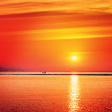 Beautiful Sunset Over Sea Stock Photography