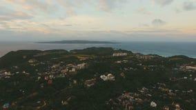 Beautiful sunset over sea,island aerial view. Boracay island Philippines. stock footage
