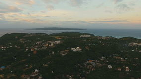 Beautiful sunset over sea,island aerial view. Boracay island Philippines. stock footage