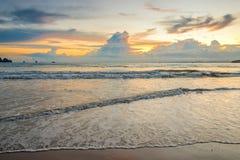 Beautiful sunset over the sea in orange tones Stock Images