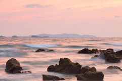 Beautiful sunset over the sea in Rayong. Province, Thailand royalty free stock images