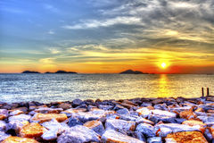 Beautiful sunset over the sea Stock Image
