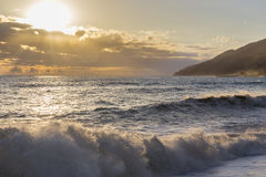 Beautiful sunset over the seashore Stock Images