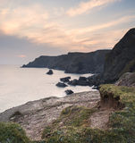 Beautiful sunset over secluded natural cove Royalty Free Stock Photos
