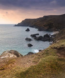 Beautiful sunset over secluded natural cove Stock Photo