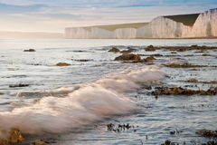 Beautiful sunset over Seven Sisters in England Royalty Free Stock Photos