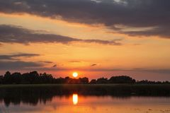 Beautiful sunset over the Shannon River. In Ireland royalty free stock photo