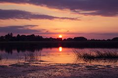 Beautiful sunset over the Shannon River. In Ireland stock images