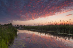 Beautiful sunset over a small river Royalty Free Stock Photos