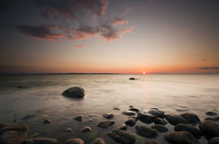 Beautiful sunset over the Swedish coastline stock photos