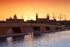 Beautiful sunset over Szczecin waterfront. Royalty Free Stock Photo