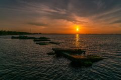 A Beautiful Sunset over The Bay Royalty Free Stock Photos