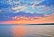 Beautiful Sunset Over The Lake Stock Photo
