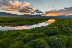 Beautiful Sunset Over The Mountain River In Summer Stock Images