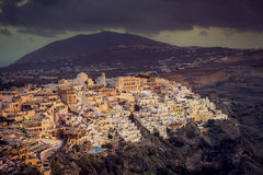 Beautiful sunset over town of Fira, Santorini Island Stock Photo
