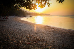 Beautiful sunset over the tropical beach Stock Photo