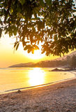 Beautiful sunset over the tropical beach Stock Photography