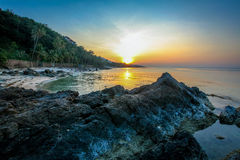 Beautiful sunset over the tropical beach Royalty Free Stock Image