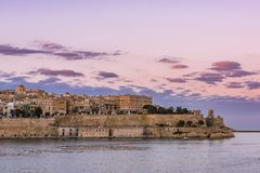 Beautiful sunset over Valletta skyline,Malta royalty free stock photography