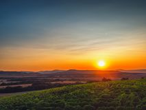 Beautiful Sunset over vineyard in Europe, aerial view Royalty Free Stock Photography