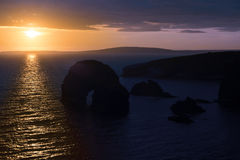 Beautiful sunset over the virgin rock Stock Photo