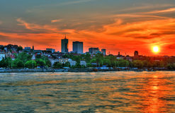 Beautiful Sunset Over Warsaw Royalty Free Stock Photos