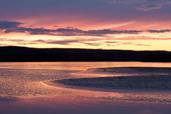 Beautiful sunset over Yukon River near Dawson City Royalty Free Stock Image