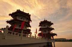 Beautiful sunset of pagodas Stock Images