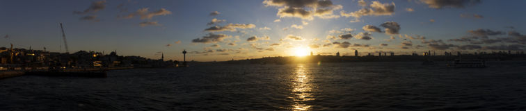 Beautiful sunset panorama over Istanbul city Royalty Free Stock Image