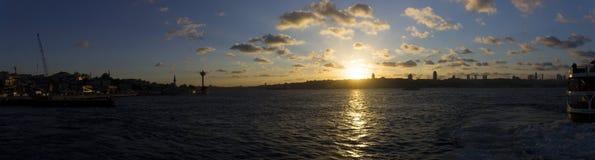 Beautiful sunset panorama over Istanbul city Stock Photos
