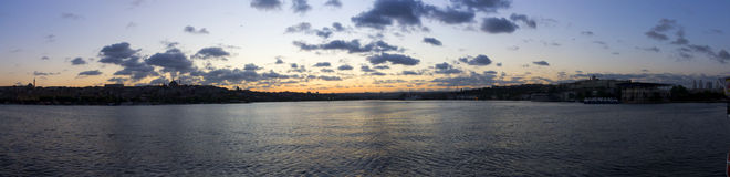 Beautiful sunset panorama over Istanbul city Stock Images