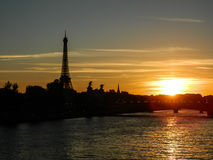 Beautiful sunset panorama of Paris with Eifell tower Stock Photo