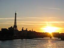 Beautiful sunset panorama of Paris with Eifell tower Stock Photography